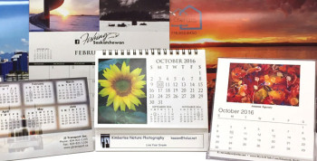 A collage of custom printed photo calendars