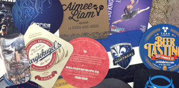 A collage of custom printed drink coasters