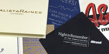 A collage of custom printed foil and embossed products.