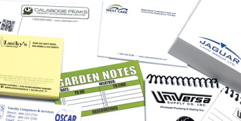 A collage of custom printed note pads