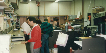 Photo of the pressroom at Laser Graphics/Vancouver Button Factory circa 1987