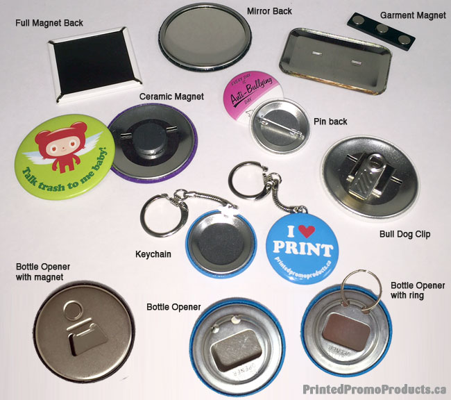 Options for custom printed promotional buttons.