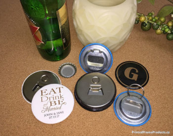 Custom bottle openers with magnetic and key ring options.