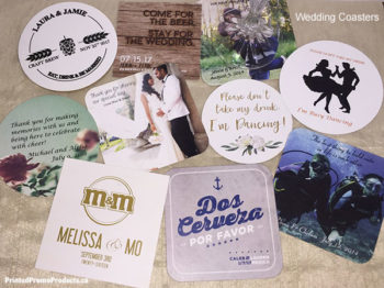 Custom printed wedding drink coasters.