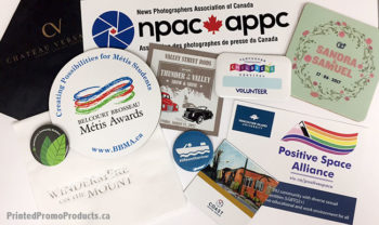 Custom samples of pin back buttons, coasters, stickers, napkins and coasters.