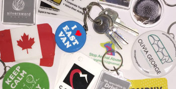 An array of custom printed key chains and key tags