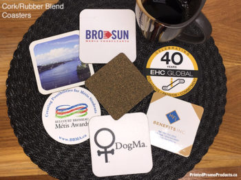 Custom drink coasters, rubber / cork blend