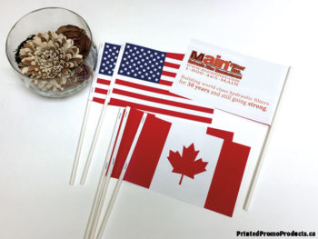 Custom printed small paper flags.