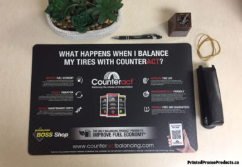 Custom printed counter mats, large mouse pads.