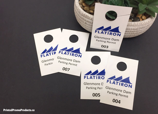 Custom printed car mirror hanging tags.