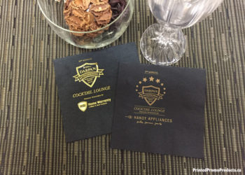 Custom napkin printing with gold.