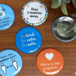 Custom printed pin back buttons