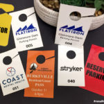 Custom printed car mirror hanging tags